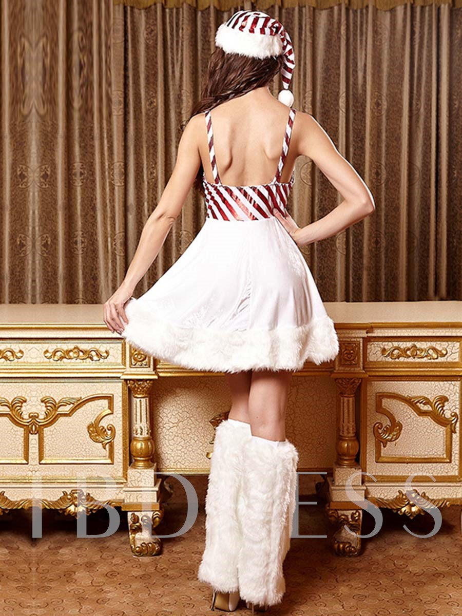 Deluxe White Candy Cane Christmas Costume
