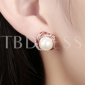 Rose Gold Pearl Flower Earrings