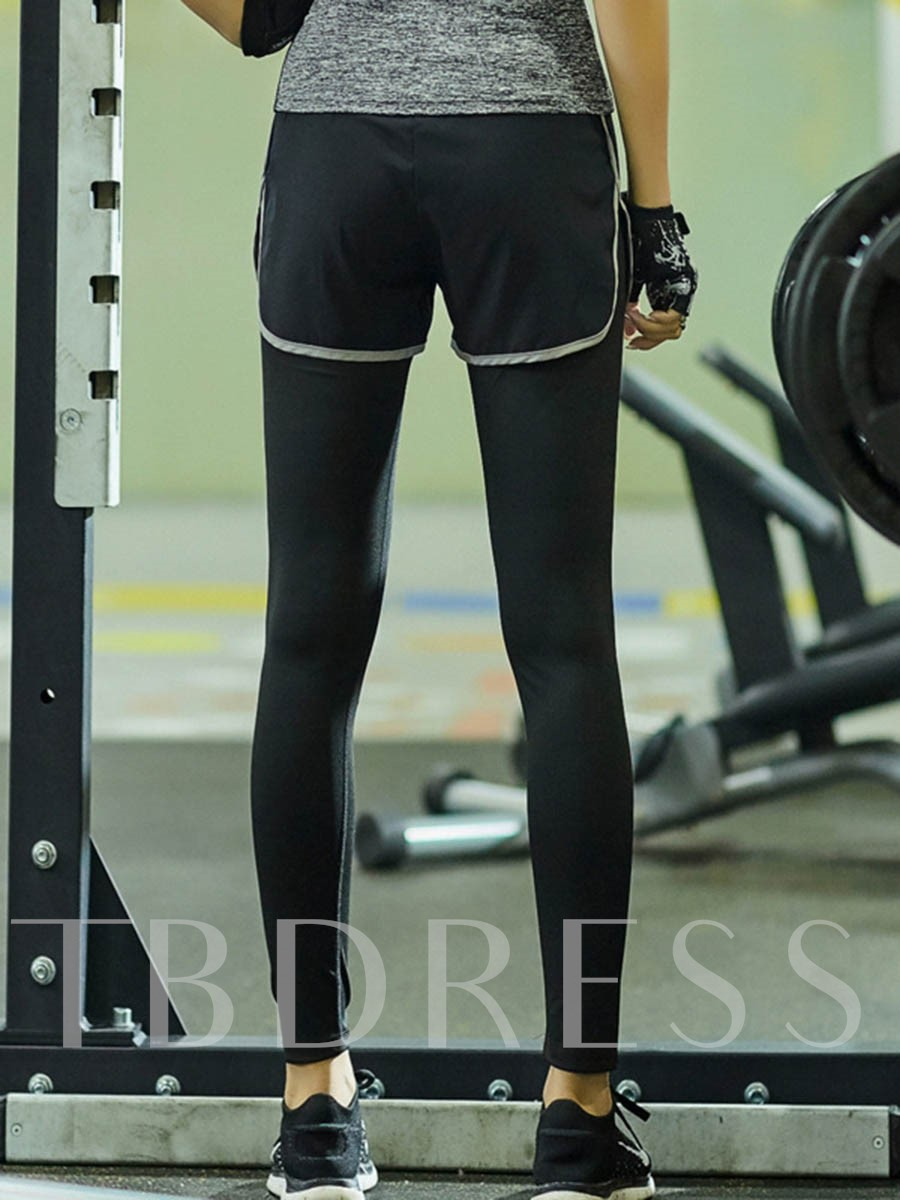 Solid Color Fake Two-Piece Breathable Women's Sports Pants