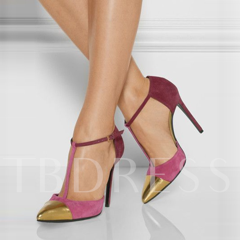 Pointed Toe T-Shaped Buckle Color Block Sequin Stiletto Heel Women's Pumps