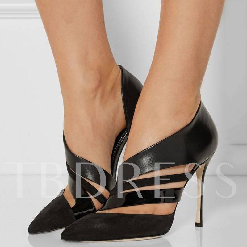 Slip-On Plain Stiletto Heel Pointed Toe Hollow Women's Pumps