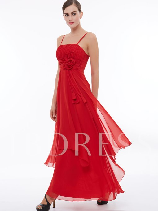 High Waist Spaghetti Straps Flowers Red Evening Dress