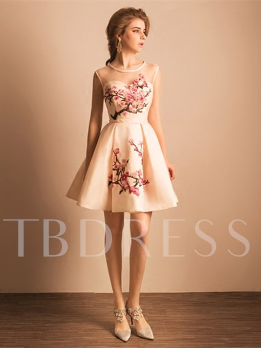 A-Line Round Neck Embroidery Short Homecoming Dress