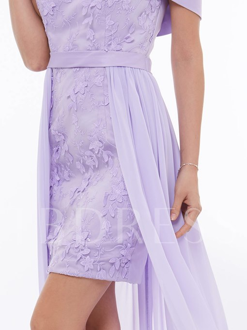 Off the Shoulder Appliques Lace High Low Prom Dress