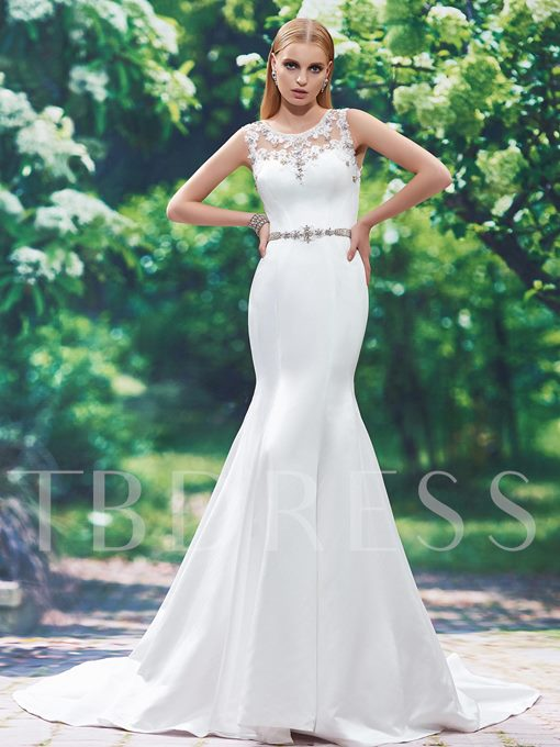 Scoop Neck Appliques Beading Button Floor-Length Mermaid Wedding Dress