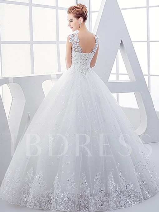 V-Neck Appliques Beading Ball Gown Wedding Dress
