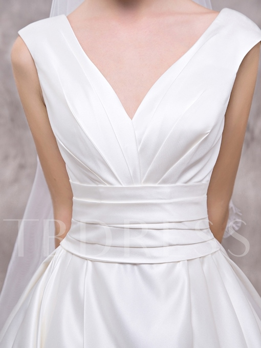 V-Neck Zipper-Up A-Line Court Train Wedding Dress