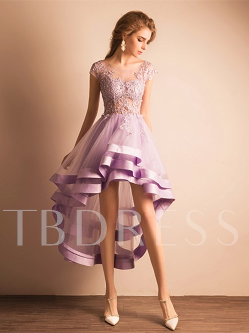 Asymmetry A-Line Scoop Lace Homecoming Dress