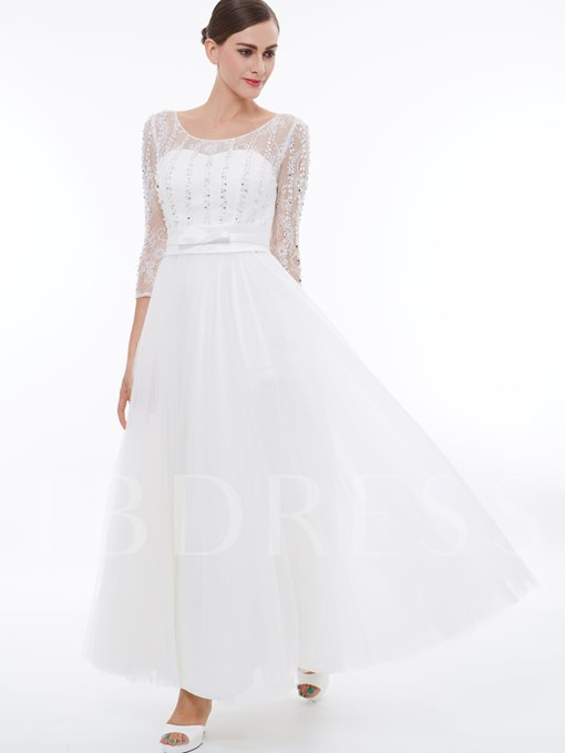 3/4 Length Sleeves Beading Tulle Evening Dress