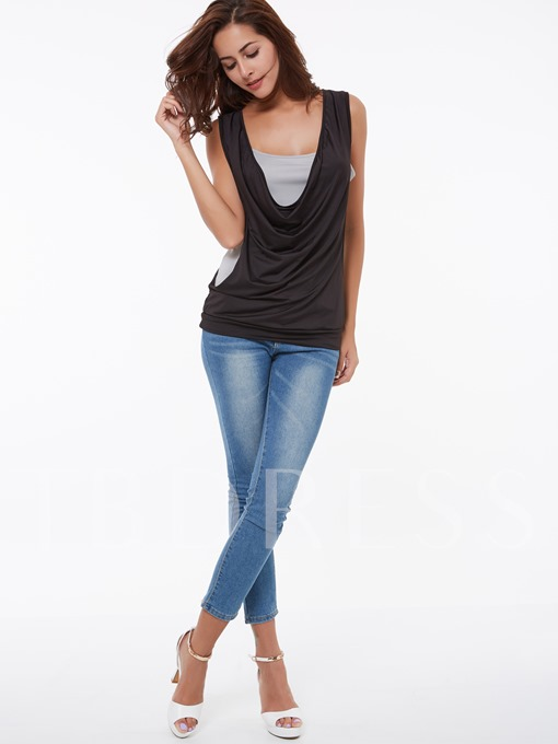 Gray Sleeveless Double-Layer Women's T-Shirt