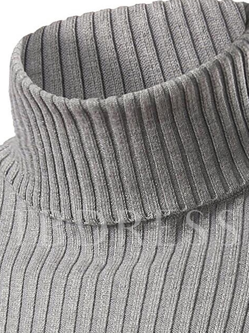Solid Color Plain Turtleneck Slim Fit Men's Casual Sweater