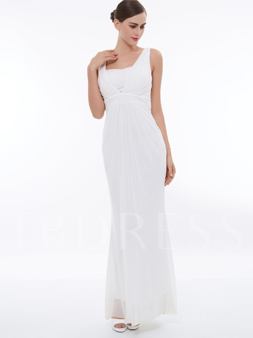 Straps Ruched Lace Column Evening Dress