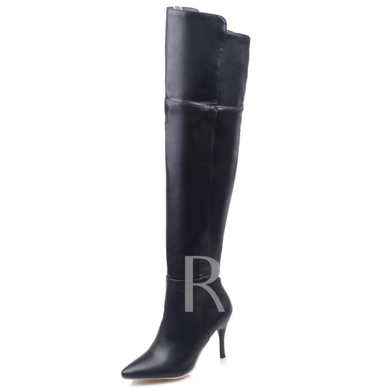 Knee-High Side Zipper Short Floss Pointed Toe Women's Boots