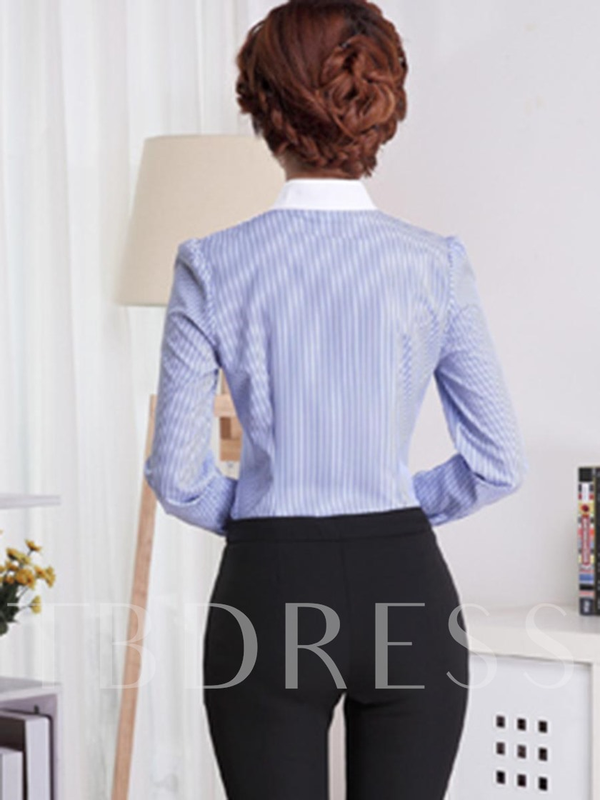 Single-Breasted Stand Collar Stripe Women's Blouse