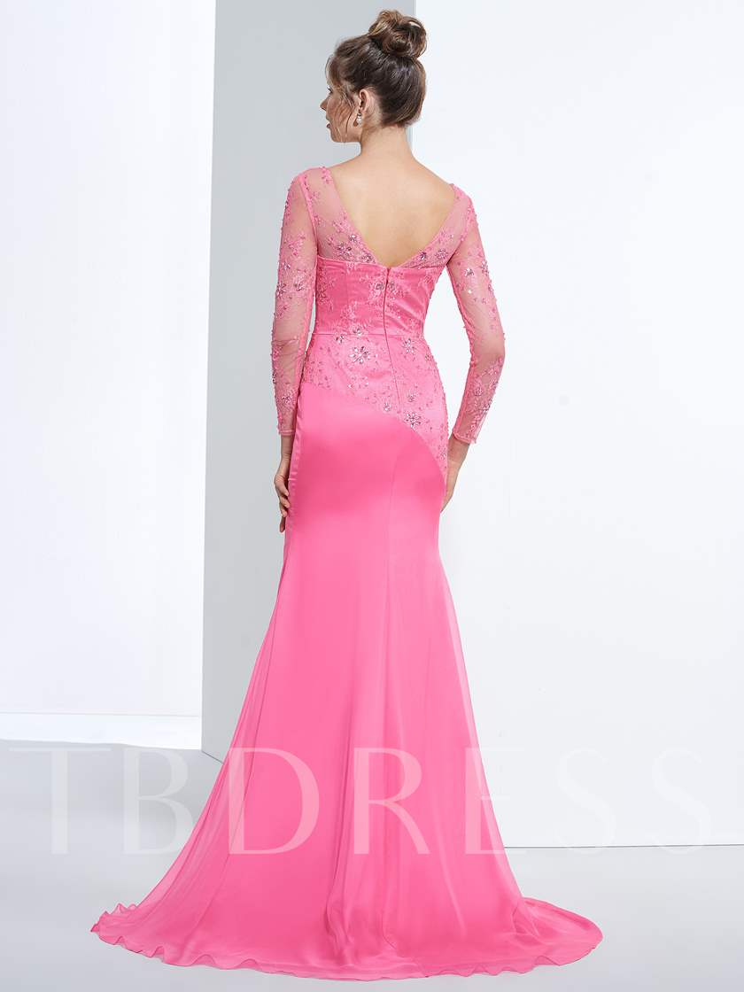 Mermaid V-Neck Beading Lace Pleats Evening Dress