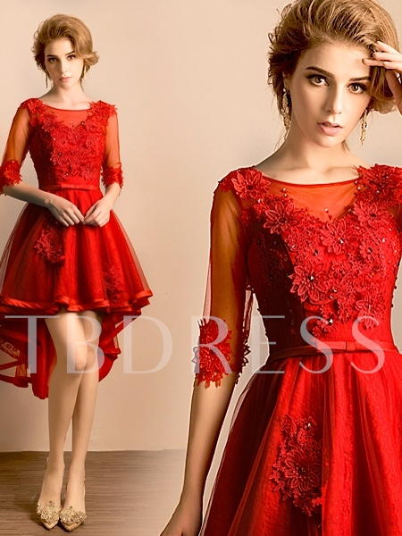 A-Line Scoop Half Sleeves Beading Lace Asymmetry Homecoming Dress