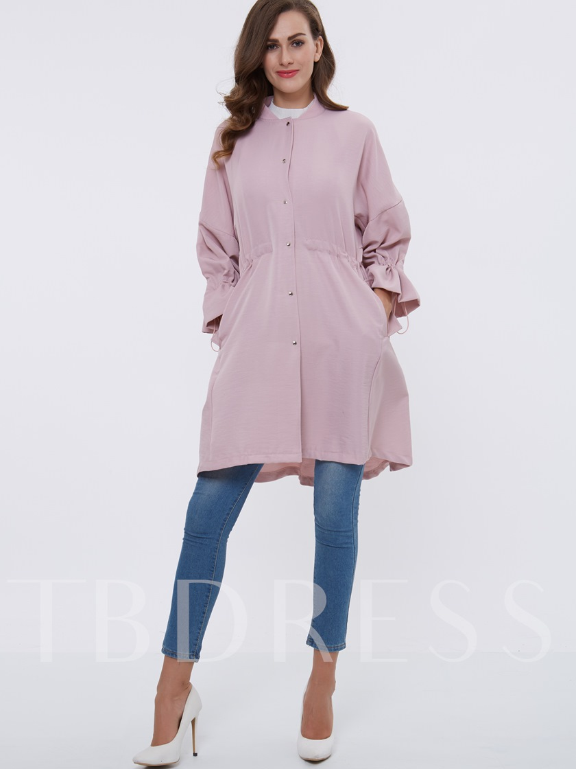 Single-Breasted Lace-Up Long Sleeve Women's Trench Coat