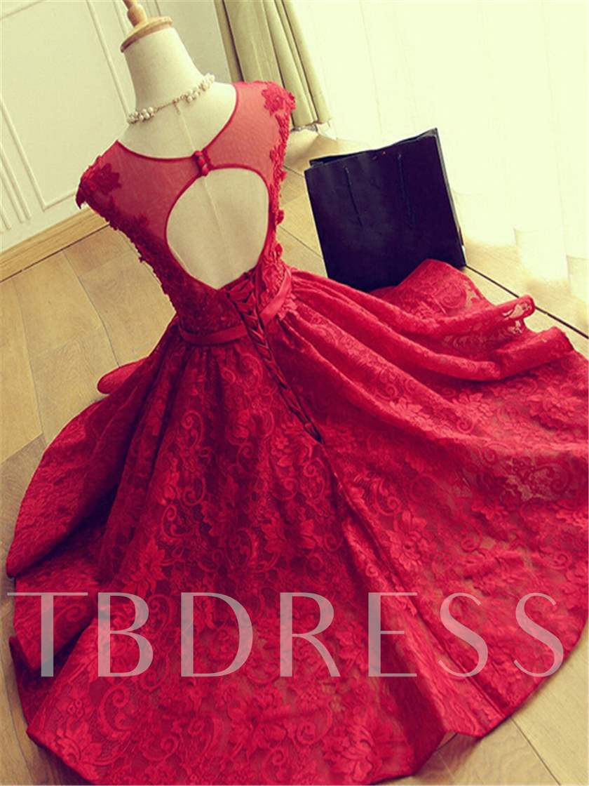 A-Line Scoop Cap Sleeves Appliques Beaded Button Hllow Lace Homecoming Dress