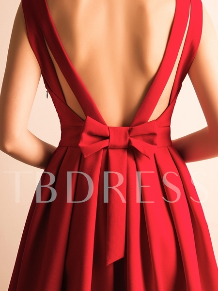 A-Line V-Neck Bowknot Pleats Short Homecoming Dress