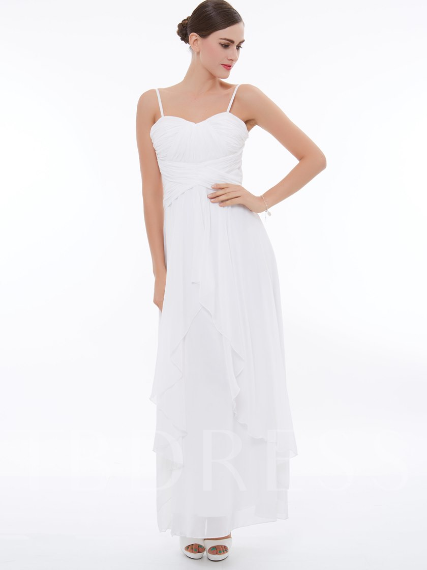Empire Waist Spaghetti Straps Pleats White Evening Dress