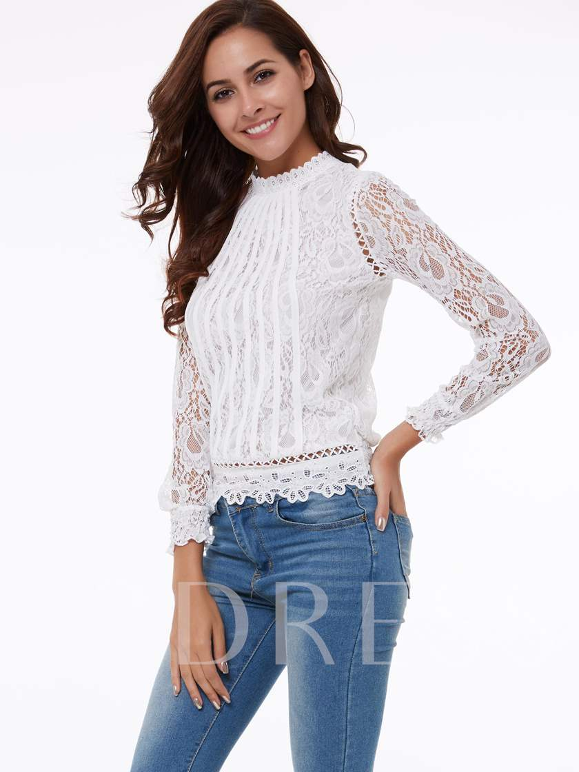 Chic Lace Long Sleeve Stand Collar Women's Blouse