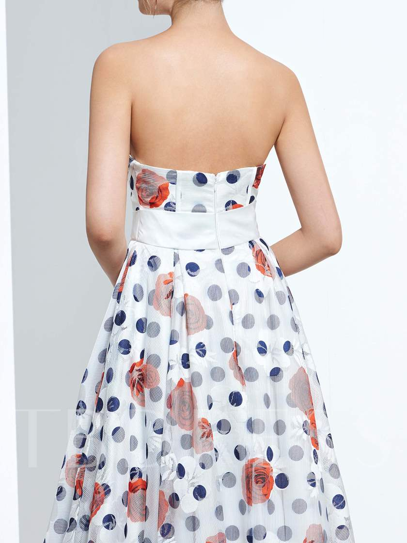 A-Line Sweetheart Printed Ankle-Length Prom Dress