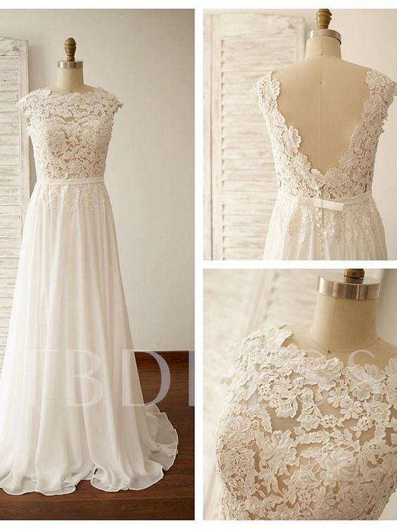 Scoop Neck V-Back Lace A-Line Wedding Dress
