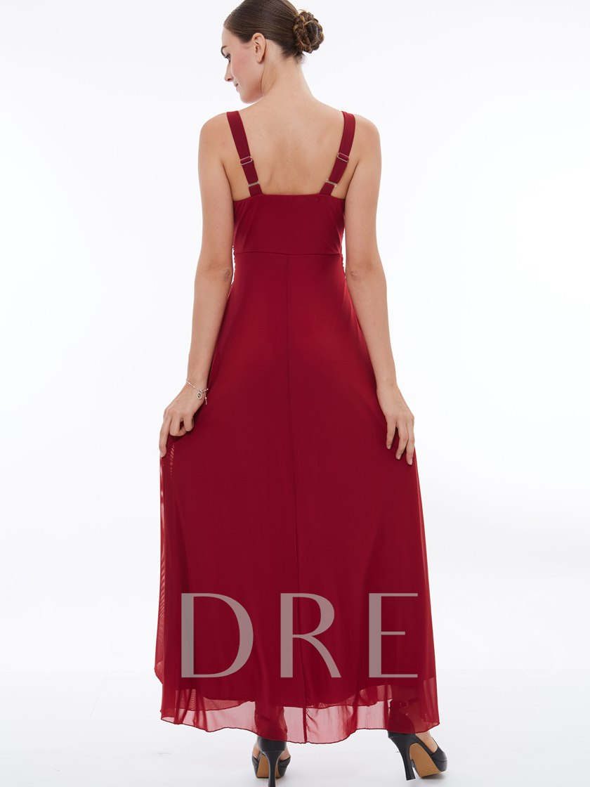 V-Neck Rhinestone Ruched Long Evening Dress