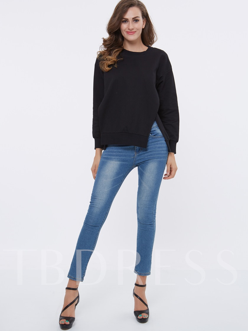 Solid Color Round Neck Loose Women's Sweater