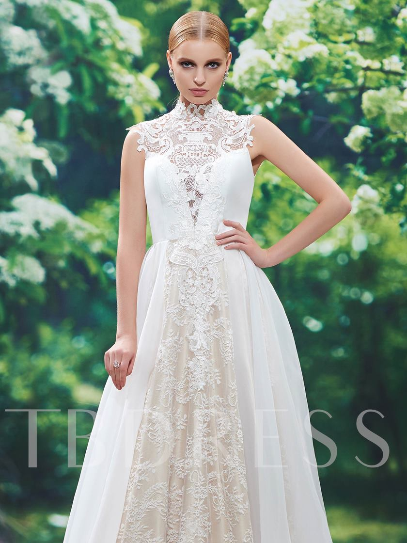 Lace Button High Neck Tulle A-Line Wedding Dress
