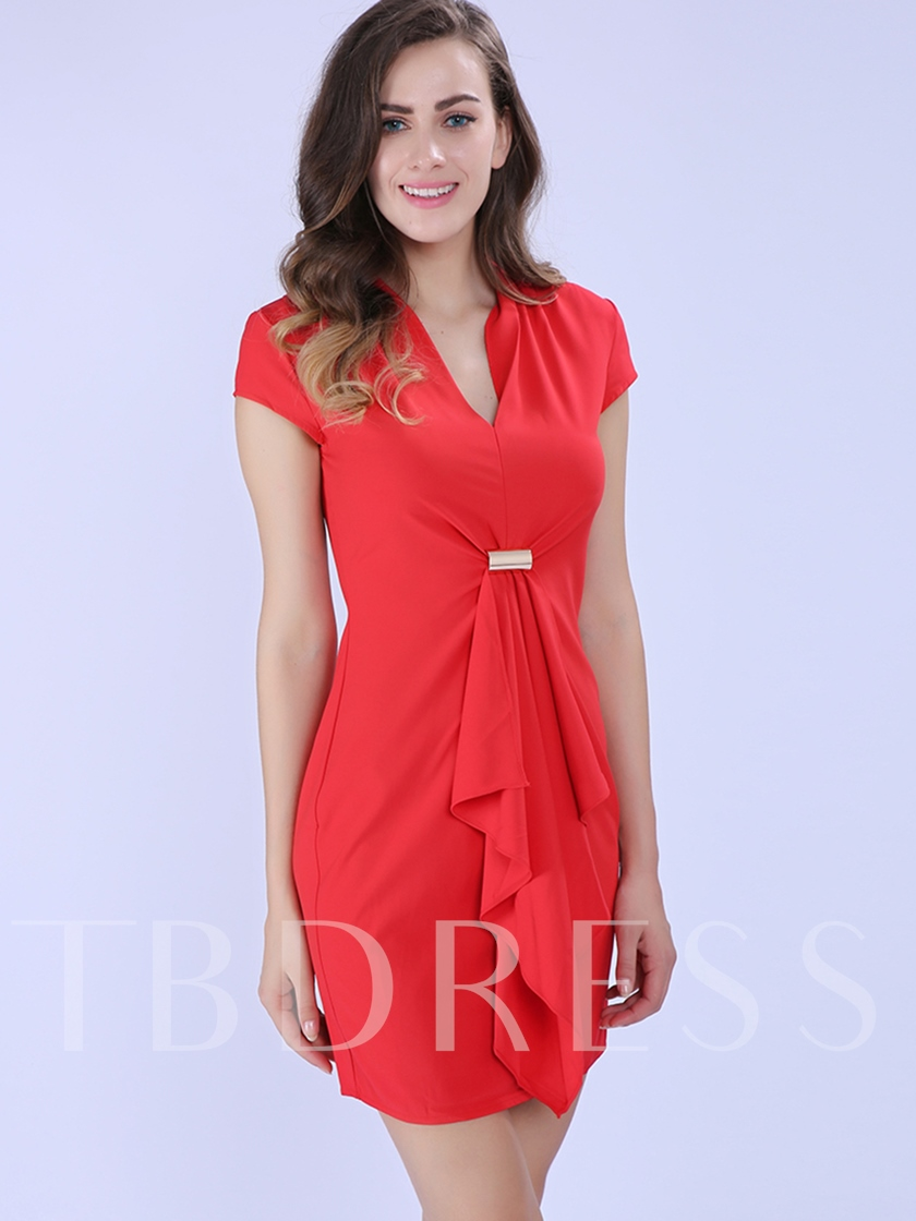 Pleated 3D Pullover Slim Women's Day Dress