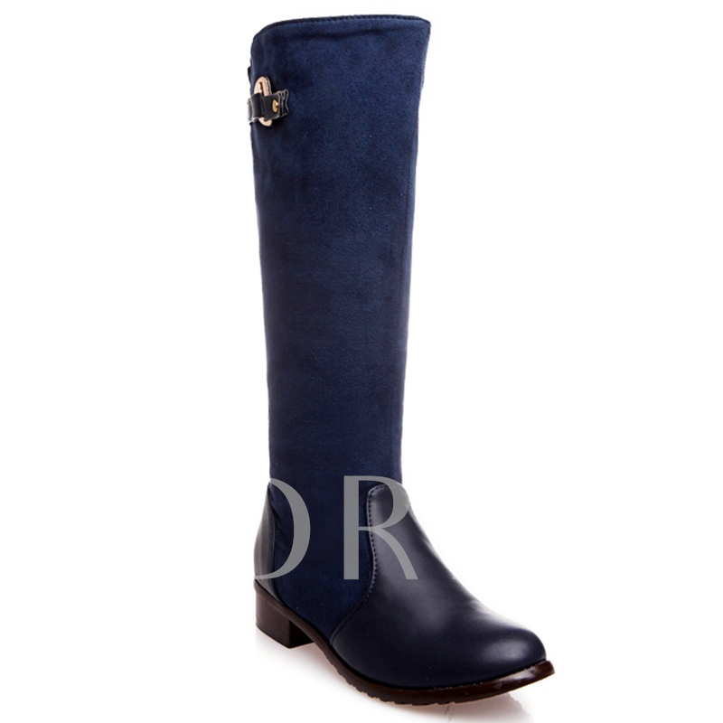 Mid-Calf Side Zipper Patchwork Plain Short Floss Buckle Women's Boots