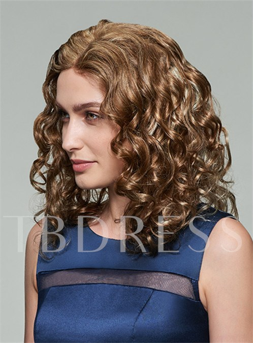 Attractive Medium Curly Lace Front Human Hair Wig 14 Inches