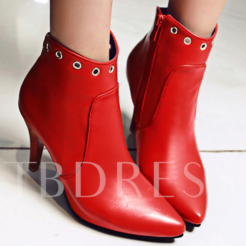 Short Floss Side Zipper Ankle Pointed Toe Ankle Women's Boots