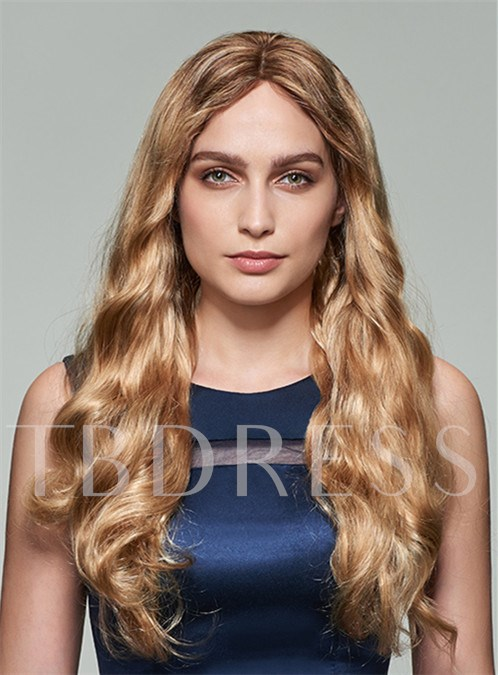 Elegant Long Wavy Lace Front Human Hair Wig 22 Inches