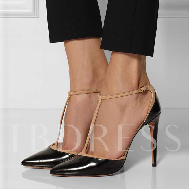 Buy T-Shaped Buckle Color Block Stiletto Heel Women's Pumps, Sheshoe, Spring,Fall, 12397255 for $54.99 in TBDress store