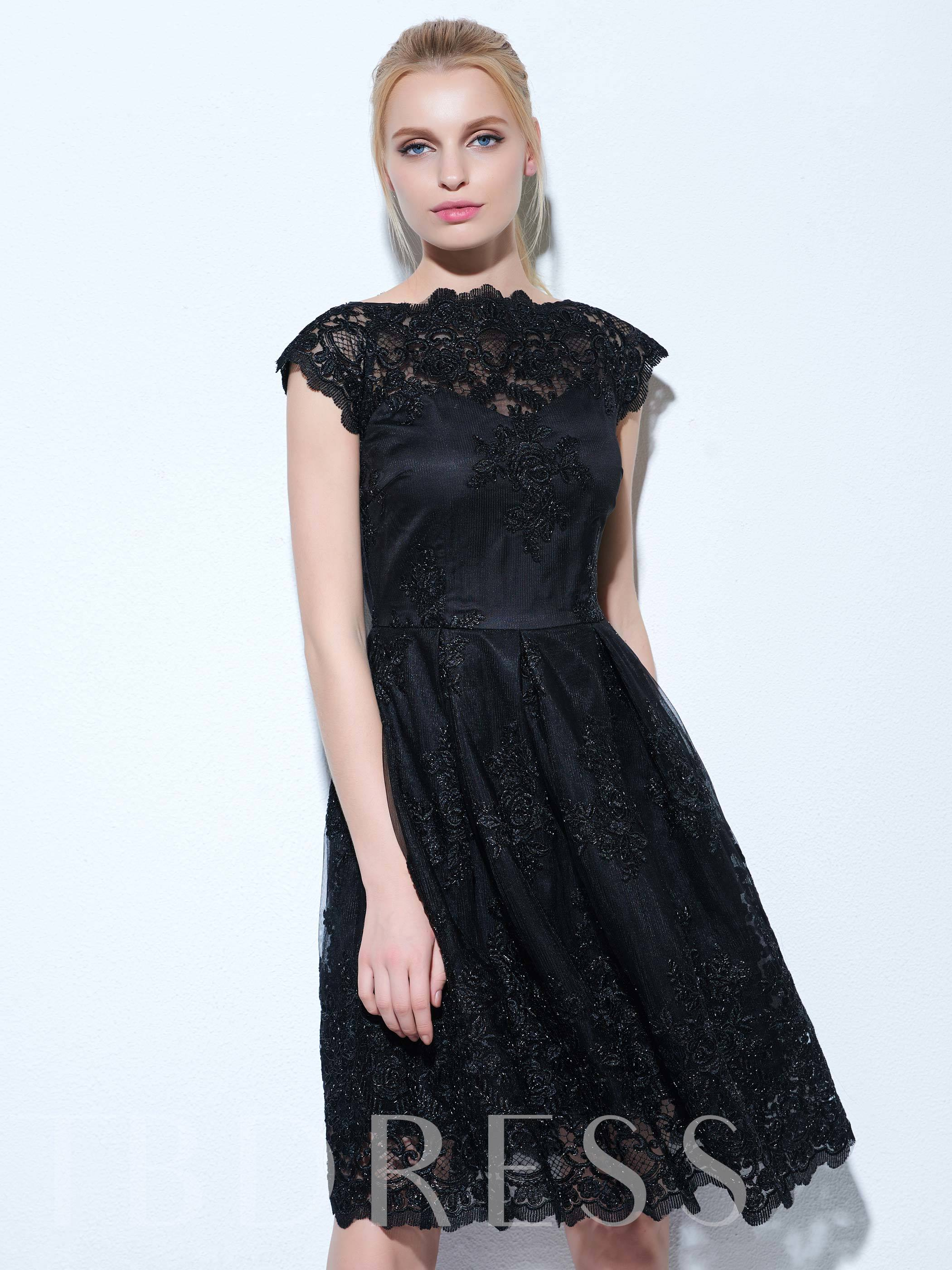 Image of A-Line Jewel Cap Sleeves Lace Knee-Length Cocktail Dress
