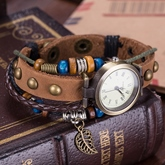 Multilayer Brown Artificial Leather Bracelet Watch