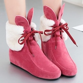 Round Toe Lace-Up Front Ankle Short Floss Women's Boots