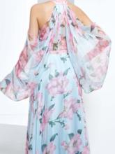 A-Line Halter Long Sleeves Beading Printed Long Prom Dress