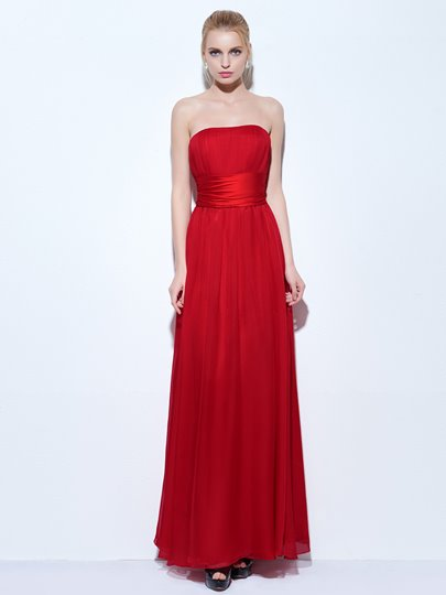 A-Line Strapless Pleats Floor-Length Evening Dress