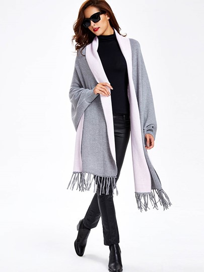 Tassel Color Block Slim Long Sleeve Women's Kimono