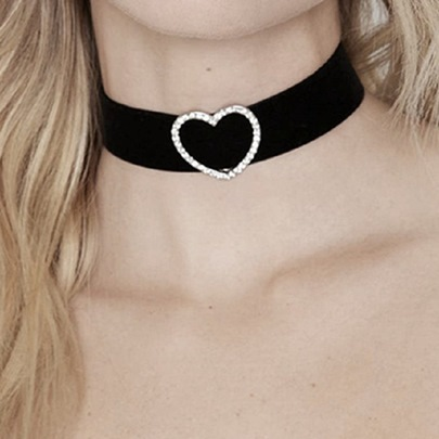 Sweetheart Diamante Black Choker Necklace