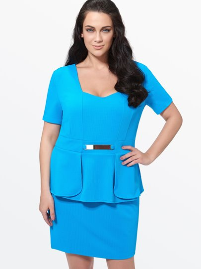 Plain Square Neck Double-Layered Women's Plus Size Dress
