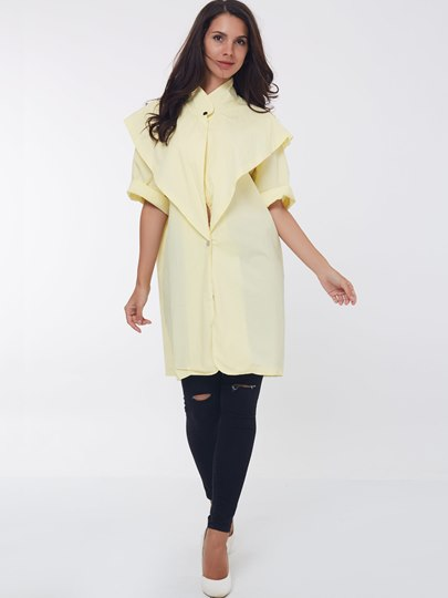 Pure Color Stand Collar Half Sleeve Women's Trench Coat