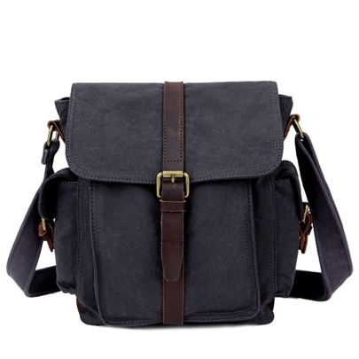 Vertical Type Square Pure Cotton Canvas Men's Crossbody