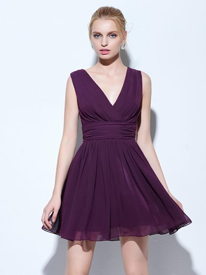 A-Line V-Neck Draped Ruched Short Cocktail Dress