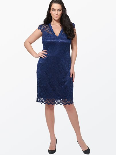 Plain V Neck Lace Plus Size Women's Day Dress