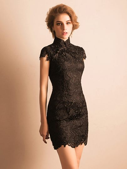 High Neck Sheath Short Sleeves Lace Short Cocktail Dress
