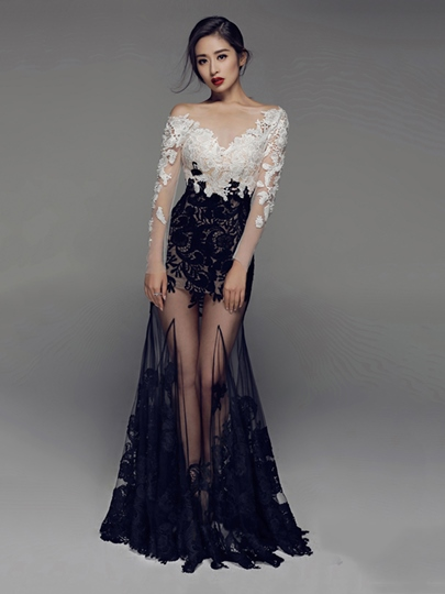 Bateau Appliques Trumpet Lace Long Sleeves Floor-Length Evening Dress